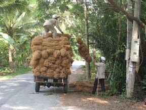 Spun rope is loaded on truck.
